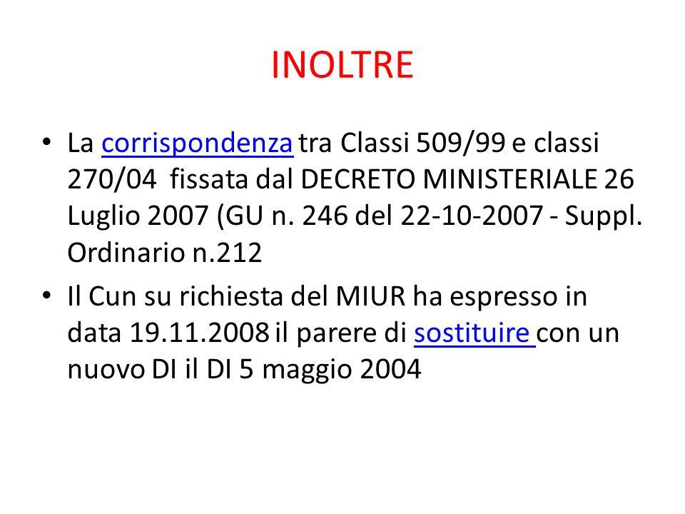 INOLTRE La corrispondenza tra Classi 509/99 e classi 270/04 fissata dal DECRETO MINISTERIALE 26 Luglio 2007 (GU n. 246 del 22-10-2007 - Suppl. Ordinar