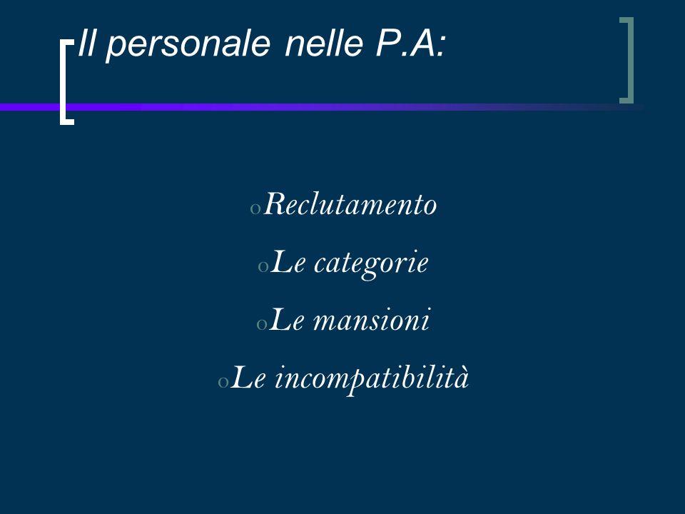 Il personale nelle P.A: o Reclutamento o Le categorie o Le mansioni o Le incompatibilità
