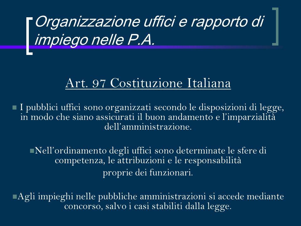 Organizzazione uffici e rapporto di impiego nelle P.A.