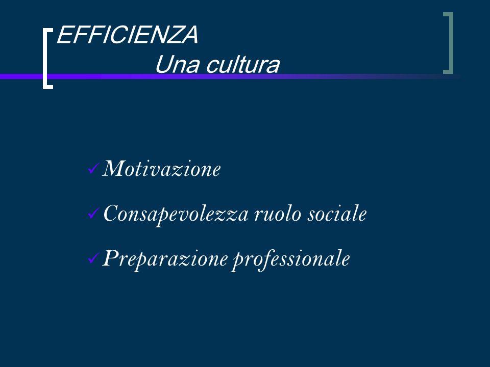 EFFICIENZA Una cultura Motivazione Consapevolezza ruolo sociale Preparazione professionale