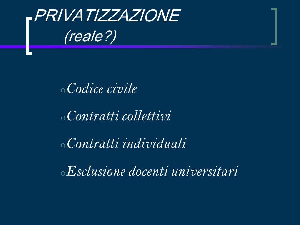 PRIVATIZZAZIONE (reale ) o Codice civile o Contratti collettivi o Contratti individuali o Esclusione docenti universitari