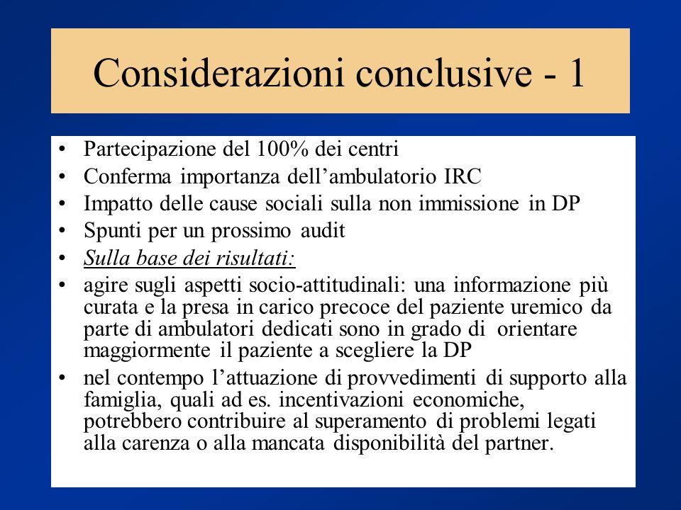 Considerazioni conclusive - 1 Partecipazione del 100% dei centri Conferma importanza dellambulatorio IRC Impatto delle cause sociali sulla non immissi