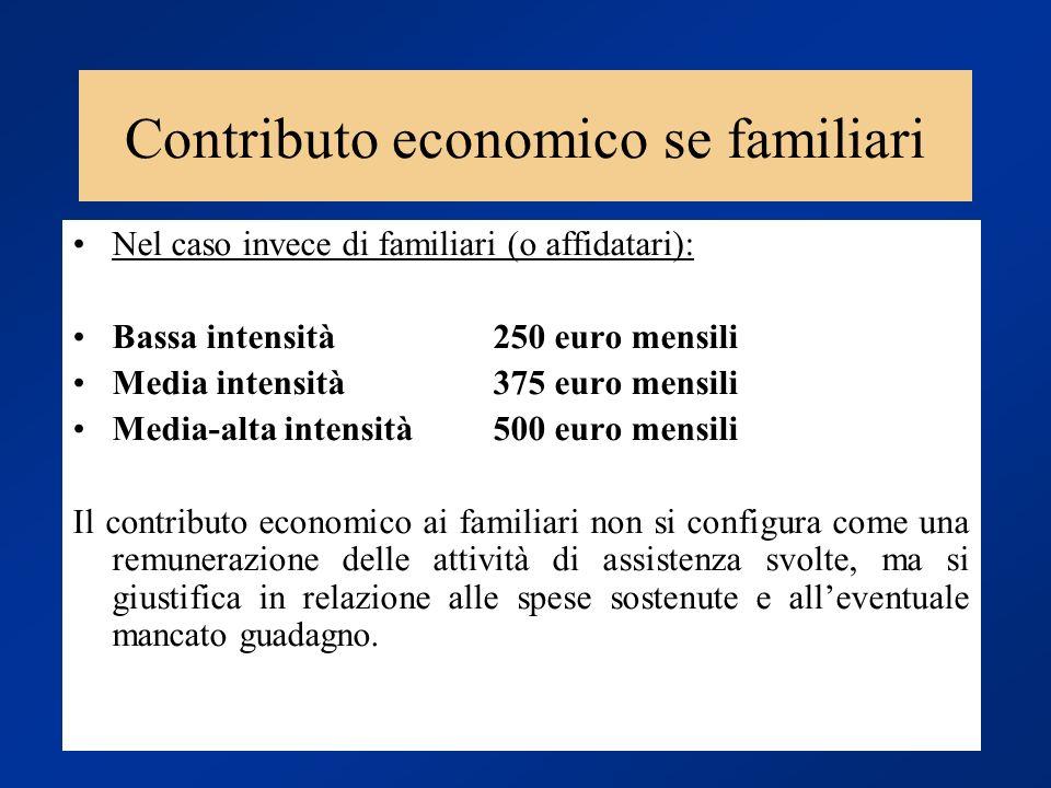 Contributo economico se familiari Nel caso invece di familiari (o affidatari): Bassa intensità250 euro mensili Media intensità375 euro mensili Media-a