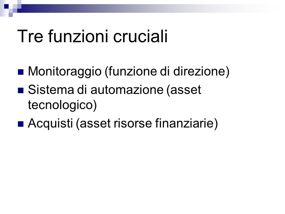 Tre funzioni cruciali Monitoraggio (funzione di direzione) Sistema di automazione (asset tecnologico) Acquisti (asset risorse finanziarie)
