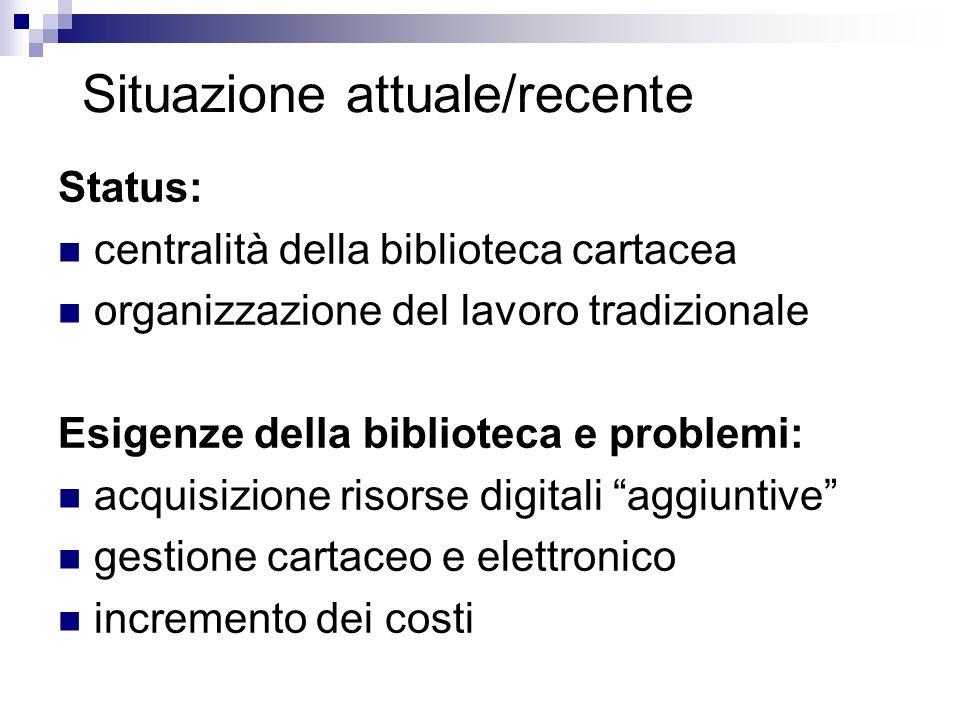 Situazione attuale/recente Status: centralità della biblioteca cartacea organizzazione del lavoro tradizionale Esigenze della biblioteca e problemi: acquisizione risorse digitali aggiuntive gestione cartaceo e elettronico incremento dei costi
