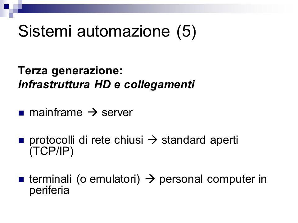 Sistemi automazione (5) Terza generazione: Infrastruttura HD e collegamenti mainframe server protocolli di rete chiusi standard aperti (TCP/IP) terminali (o emulatori) personal computer in periferia