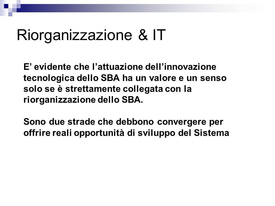 Riorganizzazione & IT E evidente che lattuazione dellinnovazione tecnologica dello SBA ha un valore e un senso solo se è strettamente collegata con la riorganizzazione dello SBA.