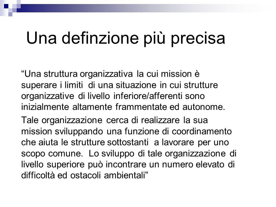 Una definzione più precisa Una struttura organizzativa la cui mission è superare i limiti di una situazione in cui strutture organizzative di livello inferiore/afferenti sono inizialmente altamente frammentate ed autonome.