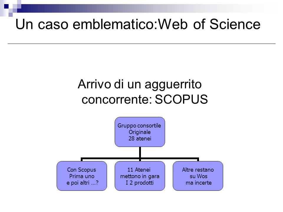 Arrivo di un agguerrito concorrente: SCOPUS Un caso emblematico:Web of Science