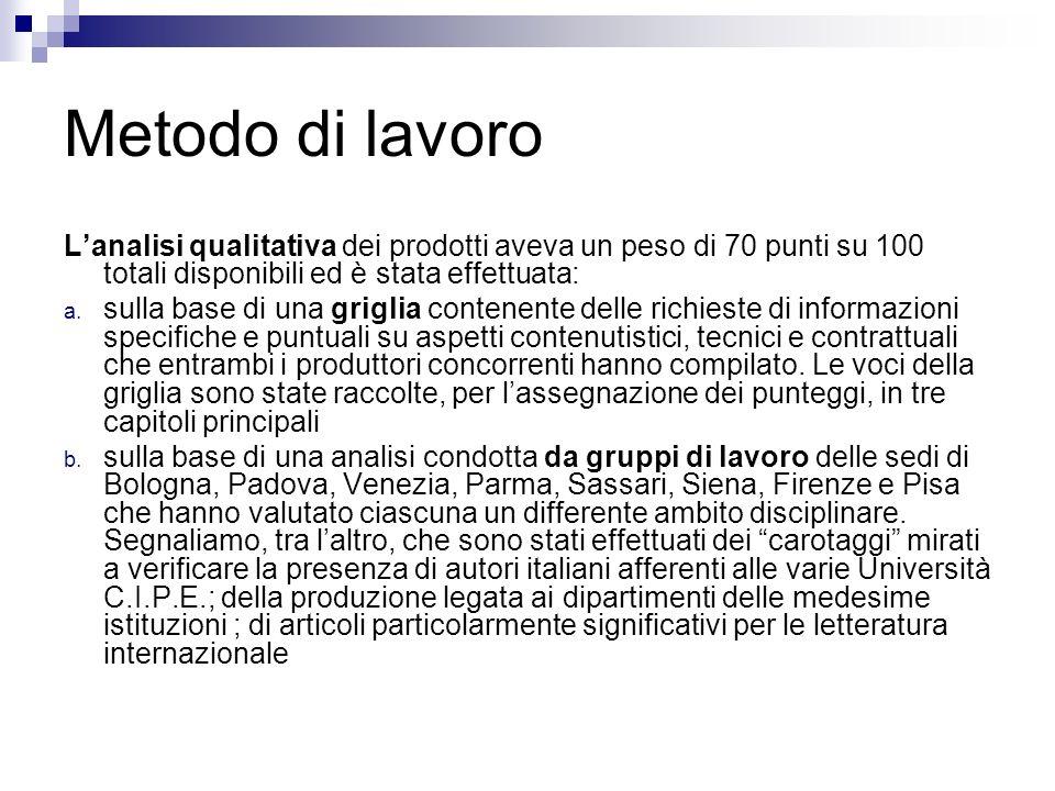 Metodo di lavoro Lanalisi qualitativa dei prodotti aveva un peso di 70 punti su 100 totali disponibili ed è stata effettuata: a.