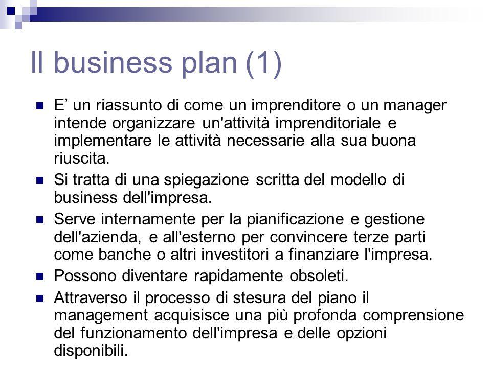 Il business plan (1) E un riassunto di come un imprenditore o un manager intende organizzare un attività imprenditoriale e implementare le attività necessarie alla sua buona riuscita.