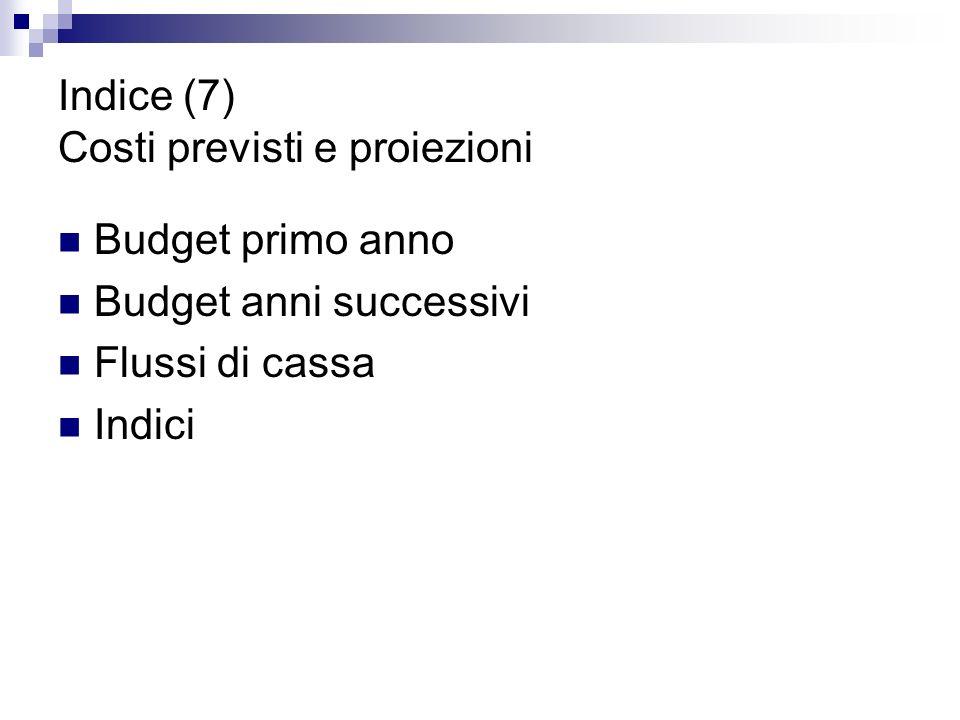 Indice (7) Costi previsti e proiezioni Budget primo anno Budget anni successivi Flussi di cassa Indici