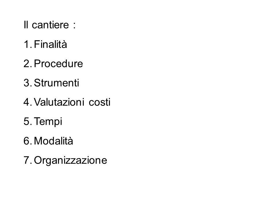 Il cantiere : 1.Finalità 2.Procedure 3.Strumenti 4.Valutazioni costi 5.Tempi 6.Modalità 7.Organizzazione