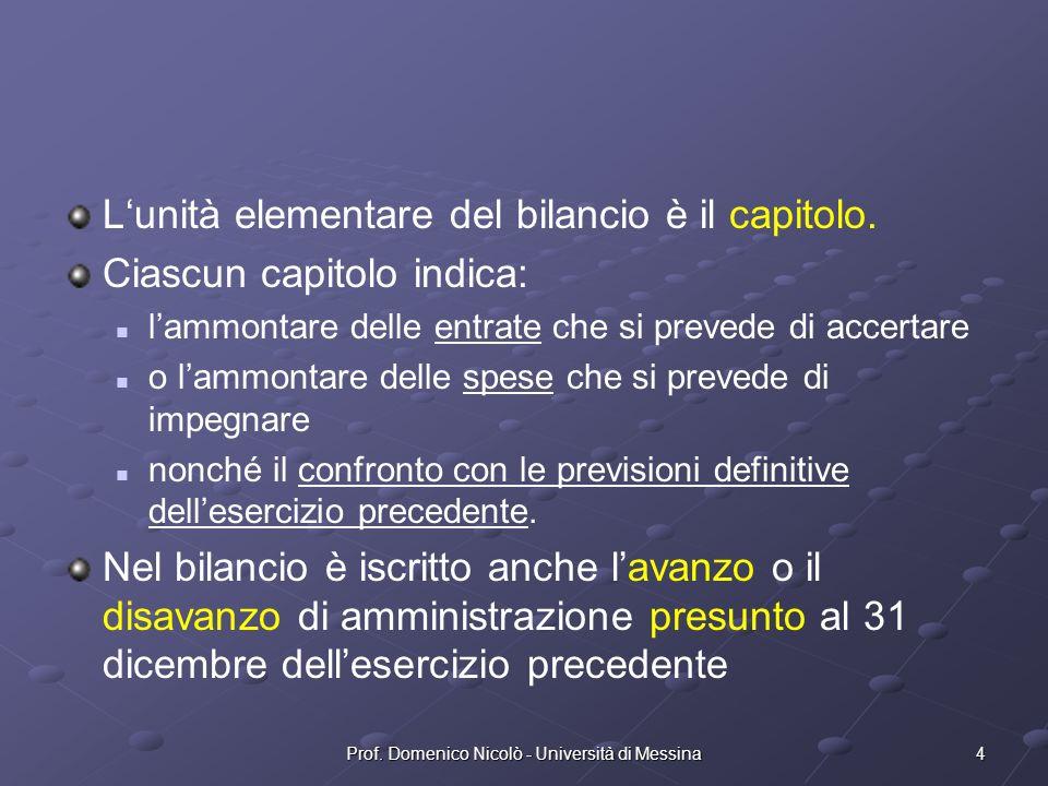 4Prof. Domenico Nicolò - Università di Messina Lunità elementare del bilancio è il capitolo.