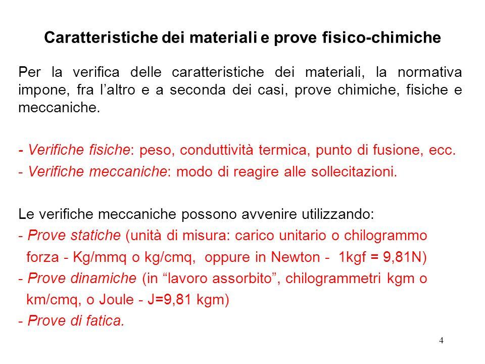 4 Caratteristiche dei materiali e prove fisico-chimiche Per la verifica delle caratteristiche dei materiali, la normativa impone, fra laltro e a secon