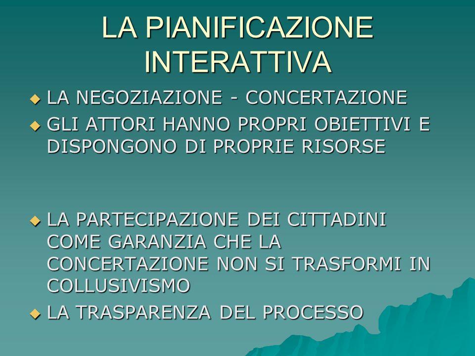 LA PIANIFICAZIONE INTERATTIVA La pianificazione interattiva, è un modo di fare pianificazione che ha come obiettivo fondamentale il confronto e linter