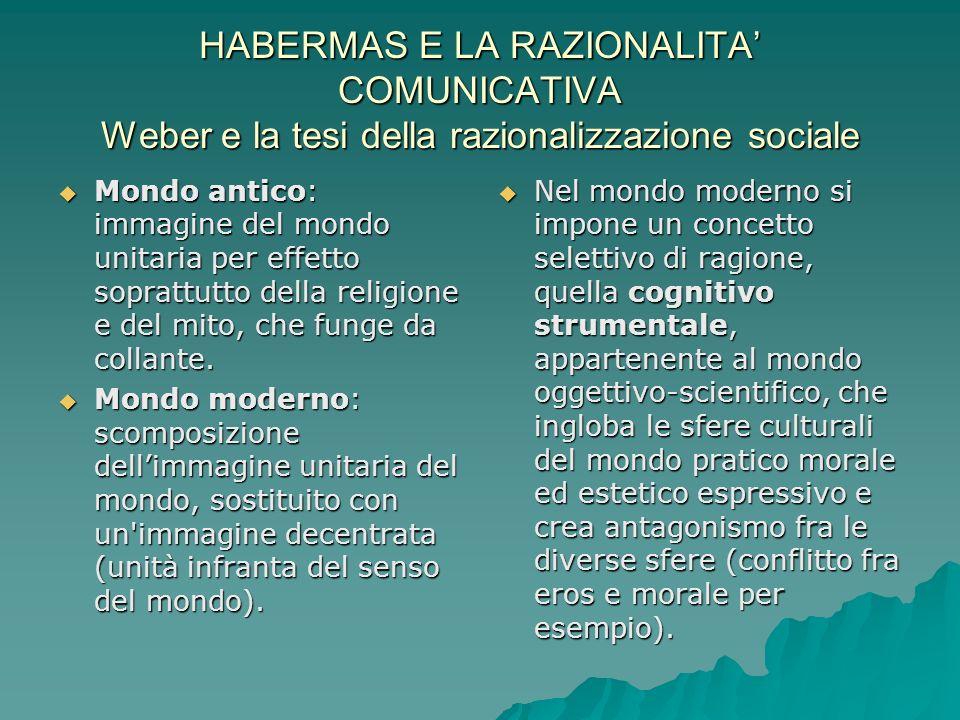 HABERMAS E LA RAZIONALITA COMUNICATIVA Weber e la tesi della razionalizzazione sociale Mondo antico: immagine del mondo unitaria per effetto soprattutto della religione e del mito, che funge da collante.