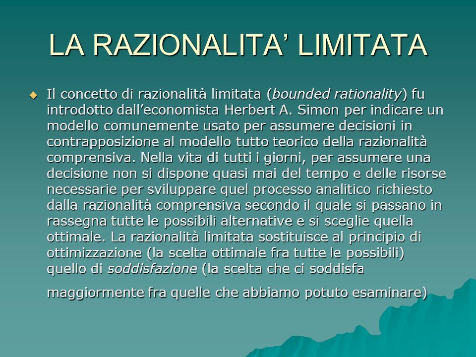 LA RAZIONALITA LIMITATA Il concetto di razionalità limitata (bounded rationality) fu introdotto dalleconomista Herbert A.