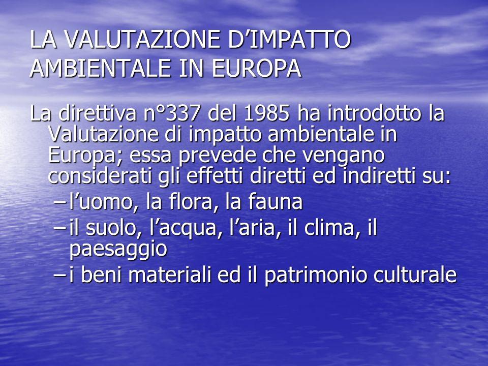 LA VALUTAZIONE DIMPATTO AMBIENTALE IN EUROPA La direttiva n°337 del 1985 ha introdotto la Valutazione di impatto ambientale in Europa; essa prevede ch