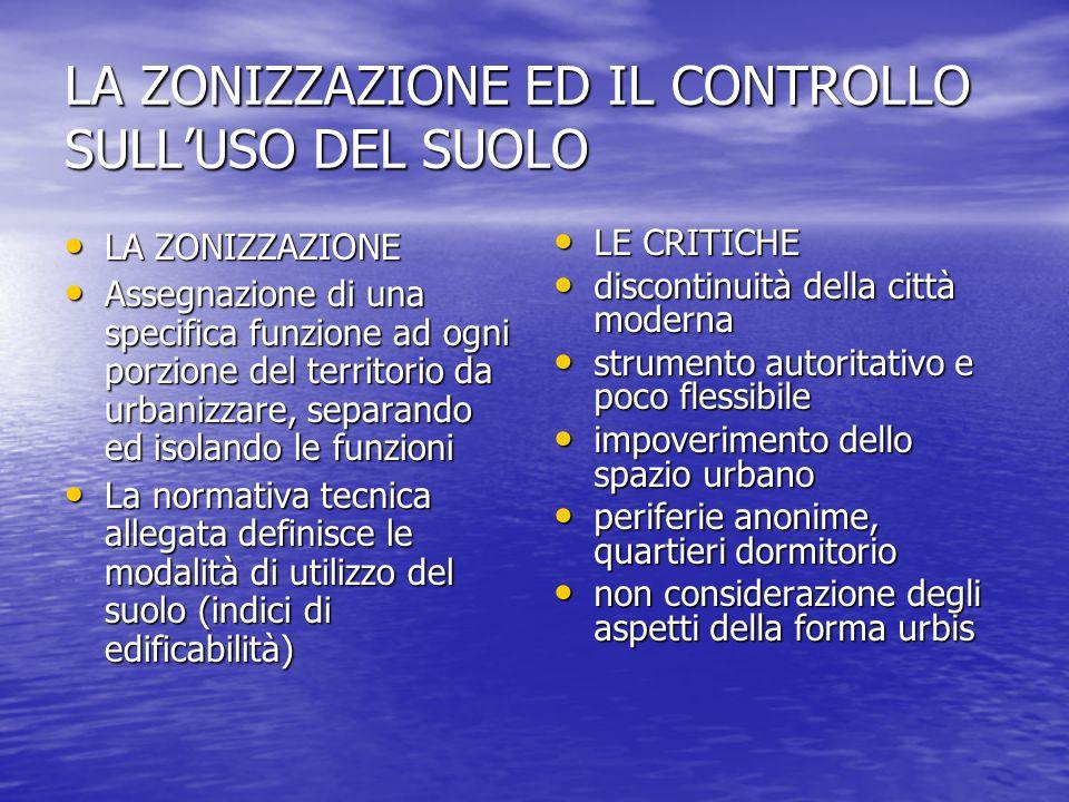 LA ZONIZZAZIONE ED IL CONTROLLO SULLUSO DEL SUOLO LA ZONIZZAZIONE LA ZONIZZAZIONE Assegnazione di una specifica funzione ad ogni porzione del territor
