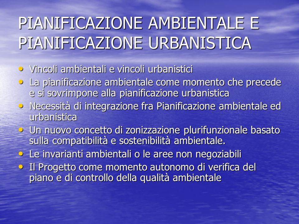 PIANIFICAZIONE AMBIENTALE E PIANIFICAZIONE URBANISTICA Vincoli ambientali e vincoli urbanistici Vincoli ambientali e vincoli urbanistici La pianificaz