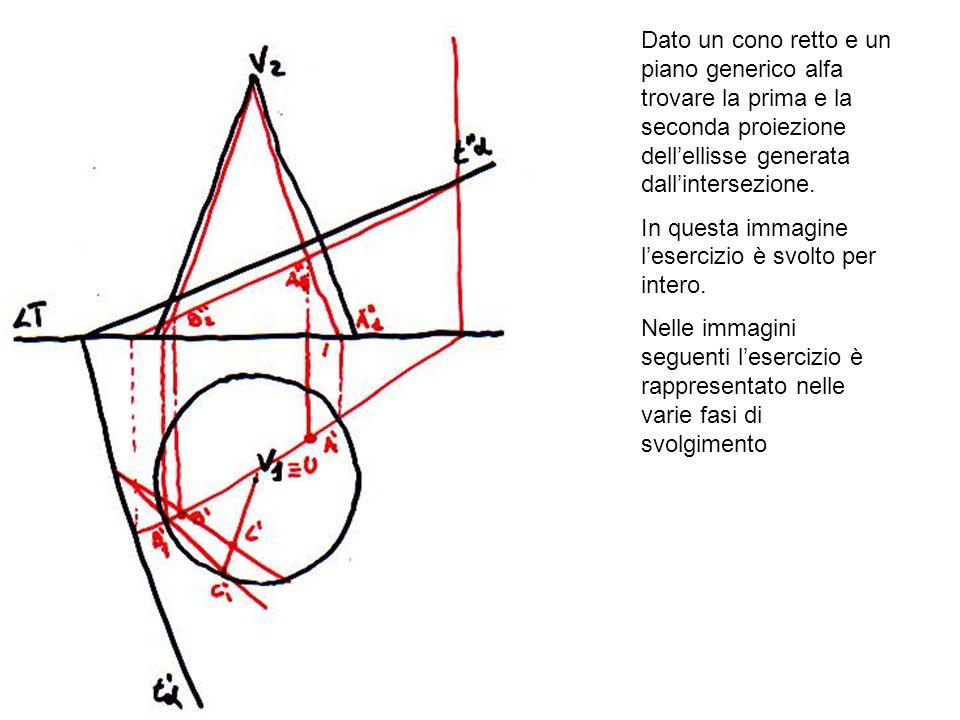 Dato un cono retto e un piano generico alfa trovare la prima e la seconda proiezione dellellisse generata dallintersezione. In questa immagine leserci