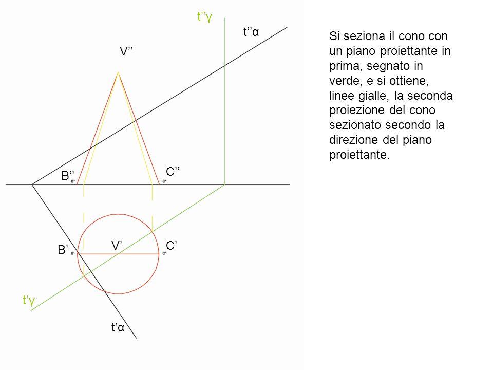 tαtα tαtα V V B B C C tγtγ tγtγ Si seziona il cono con un piano proiettante in prima, segnato in verde, e si ottiene, linee gialle, la seconda proiezi