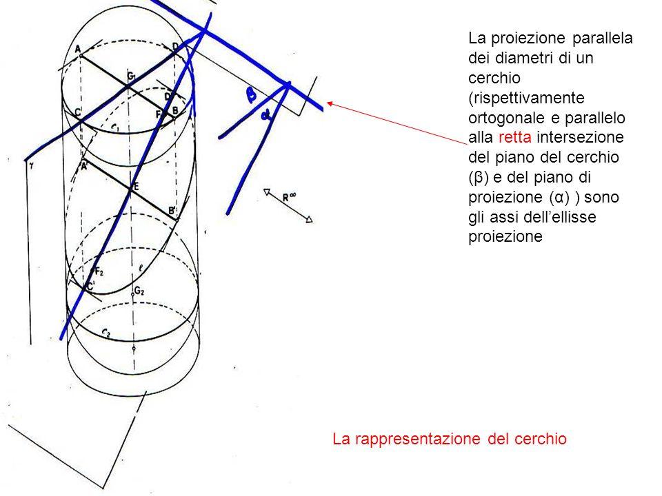 La proiezione parallela dei diametri di un cerchio (rispettivamente ortogonale e parallelo alla retta intersezione del piano del cerchio (β) e del pia
