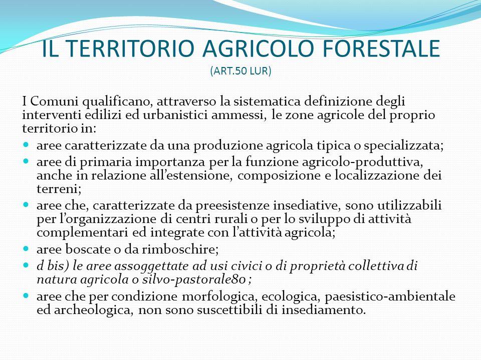 IL TERRITORIO AGRICOLO FORESTALE (ART.50 LUR) I Comuni qualificano, attraverso la sistematica definizione degli interventi edilizi ed urbanistici amme