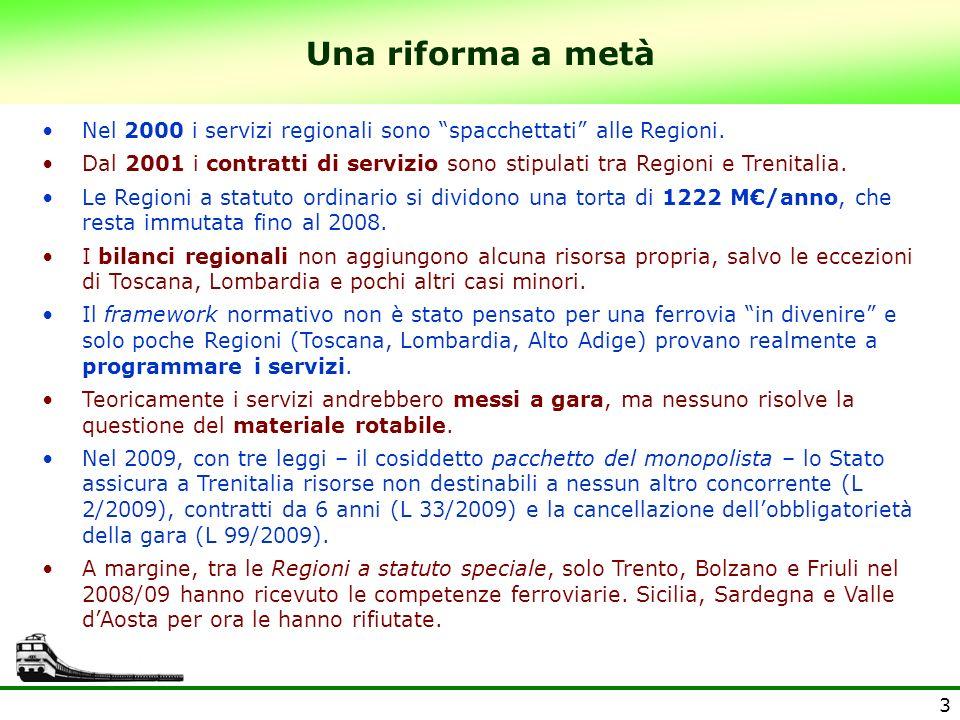 4 Precariato ferroviario La scadenza per la messa a gara dei servizi è fissata via via al 31 dicembre 2003, 2004, 2005 e 2007.