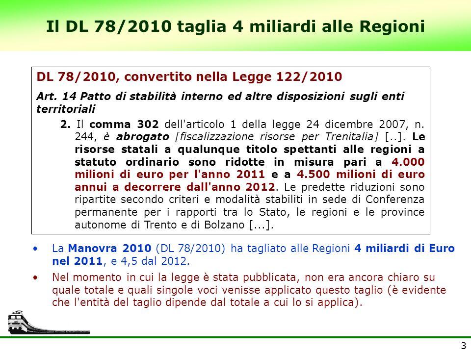 3 Il DL 78/2010 taglia 4 miliardi alle Regioni La Manovra 2010 (DL 78/2010) ha tagliato alle Regioni 4 miliardi di Euro nel 2011, e 4,5 dal 2012. Nel