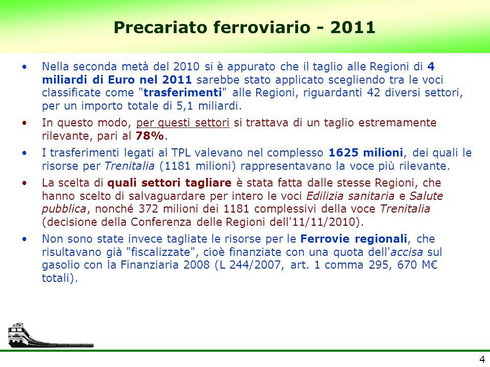4 Precariato ferroviario - 2011 Nella seconda metà del 2010 si è appurato che il taglio alle Regioni di 4 miliardi di Euro nel 2011 sarebbe stato applicato scegliendo tra le voci classificate come trasferimenti alle Regioni, riguardanti 42 diversi settori, per un importo totale di 5,1 miliardi.