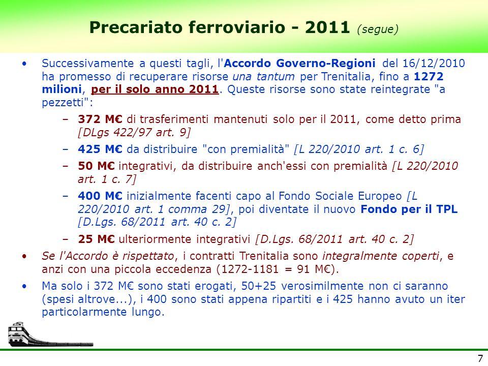 7 Precariato ferroviario - 2011 (segue) Successivamente a questi tagli, l Accordo Governo-Regioni del 16/12/2010 ha promesso di recuperare risorse una tantum per Trenitalia, fino a 1272 milioni, per il solo anno 2011.