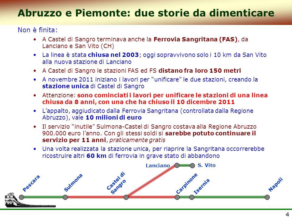4 Abruzzo e Piemonte: due storie da dimenticare Non è finita: A Castel di Sangro terminava anche la Ferrovia Sangritana (FAS), da Lanciano e San Vito (CH) La linea è stata chiusa nel 2003; oggi sopravvivono solo i 10 km da San Vito alla nuova stazione di Lanciano A Castel di Sangro le stazioni FAS ed FS distano fra loro 150 metri A novembre 2011 iniziano i lavori per unificare le due stazioni, creando la stazione unica di Castel di Sangro Attenzione: sono cominciati i lavori per unificare le stazioni di una linea chiusa da 8 anni, con una che ha chiuso il 10 dicembre 2011 Lappalto, aggiudicato dalla Ferrovia Sangritana (controllata dalla Regione Abruzzo), vale 10 milioni di euro Il servizio inutile Sulmona-Castel di Sangro costava alla Regione Abruzzo 900.000 euro lanno.