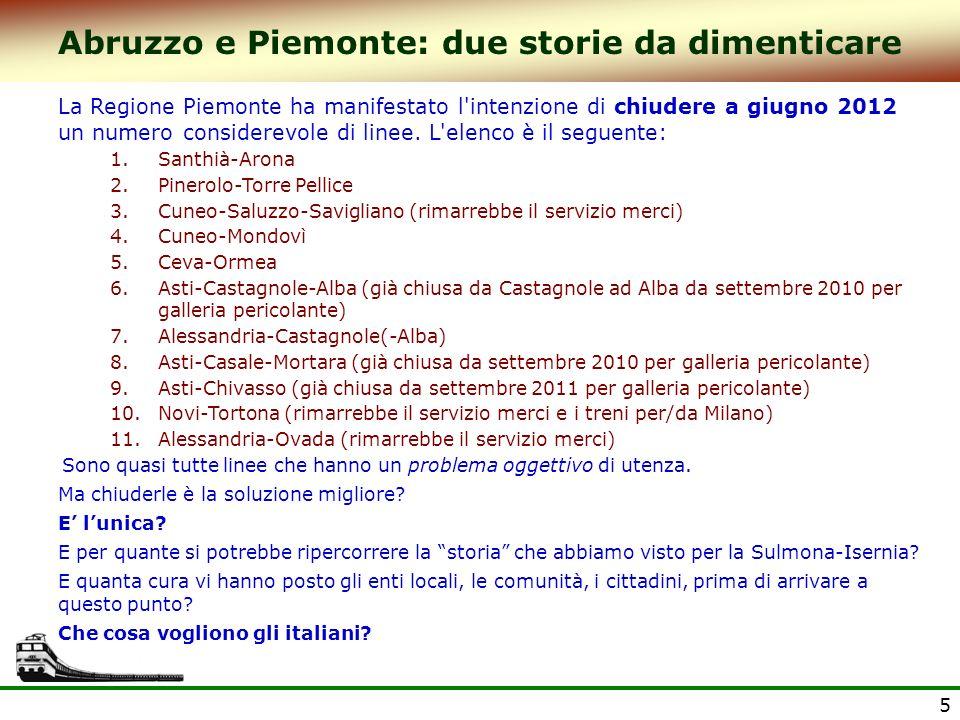 5 Abruzzo e Piemonte: due storie da dimenticare La Regione Piemonte ha manifestato l intenzione di chiudere a giugno 2012 un numero considerevole di linee.