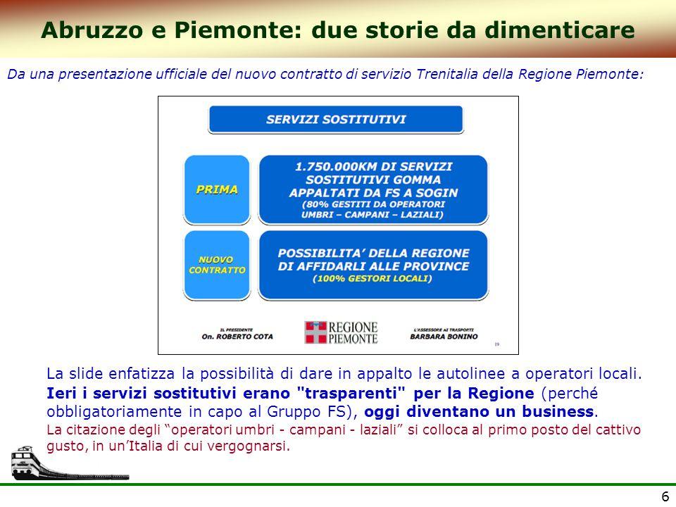 6 Abruzzo e Piemonte: due storie da dimenticare Da una presentazione ufficiale del nuovo contratto di servizio Trenitalia della Regione Piemonte: La slide enfatizza la possibilità di dare in appalto le autolinee a operatori locali.