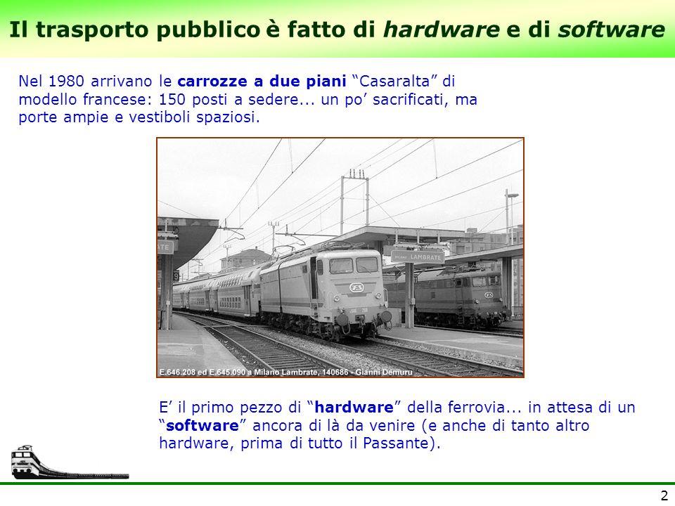 2 Il trasporto pubblico è fatto di hardware e di software Nel 1980 arrivano le carrozze a due piani Casaralta di modello francese: 150 posti a sedere.