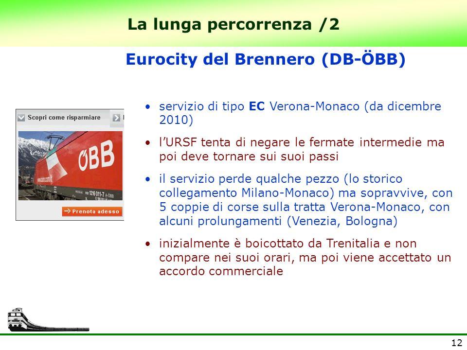 12 La lunga percorrenza /2 Eurocity del Brennero (DB-ÖBB) servizio di tipo EC Verona-Monaco (da dicembre 2010) lURSF tenta di negare le fermate interm
