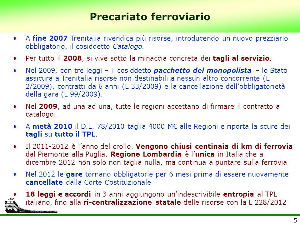 5 Precariato ferroviario A fine 2007 Trenitalia rivendica più risorse, introducendo un nuovo prezziario obbligatorio, il cosiddetto Catalogo. Per tutt