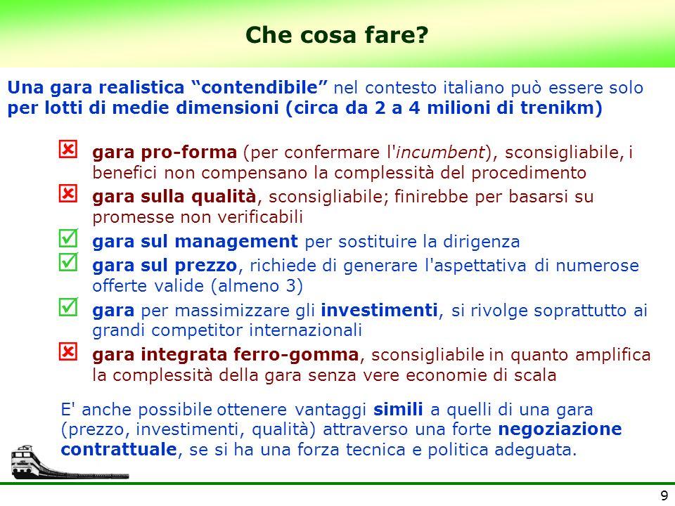 9 Che cosa fare? Una gara realistica contendibile nel contesto italiano può essere solo per lotti di medie dimensioni (circa da 2 a 4 milioni di treni