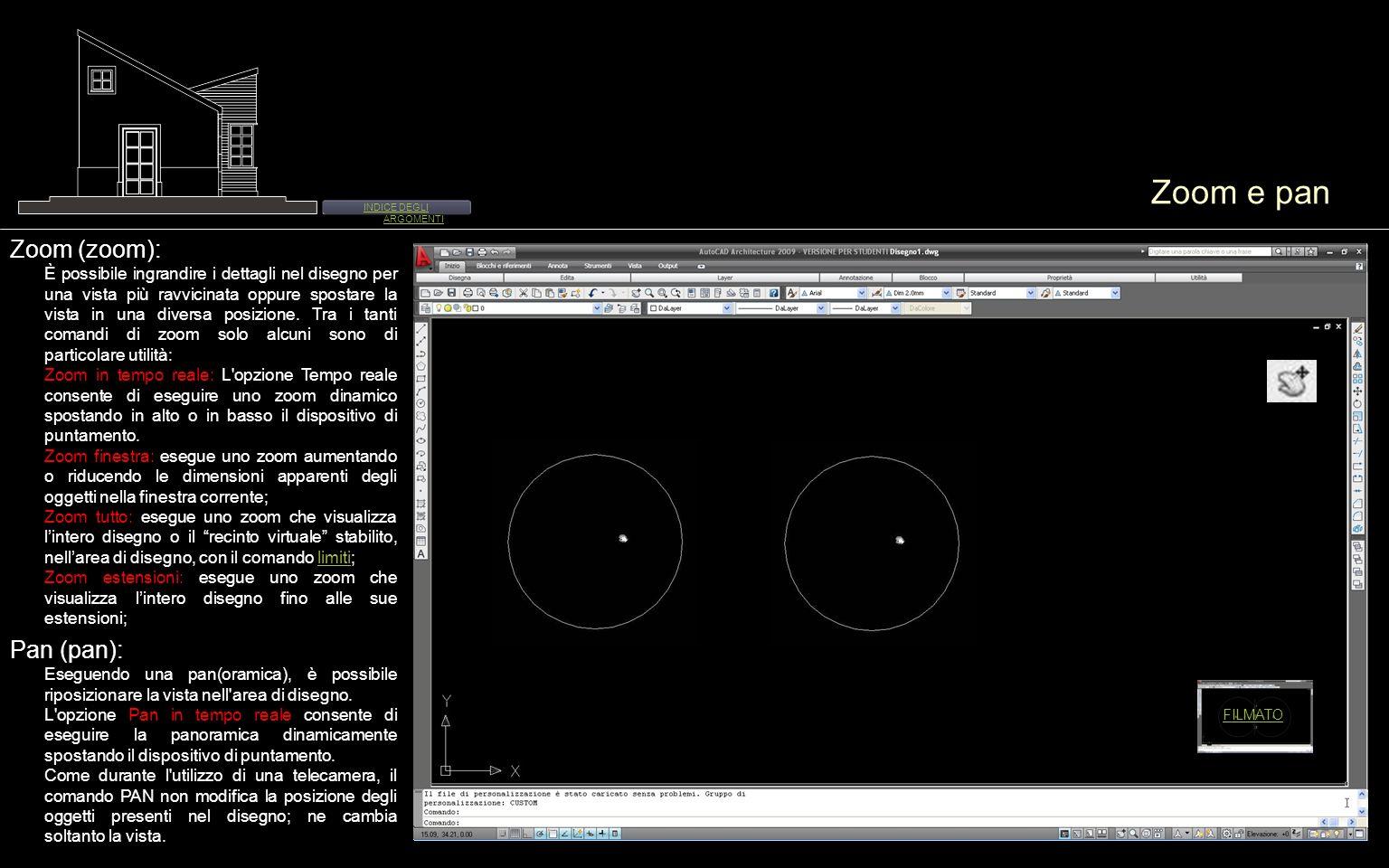 Zoom e pan Zoom (zoom): È possibile ingrandire i dettagli nel disegno per una vista più ravvicinata oppure spostare la vista in una diversa posizione.