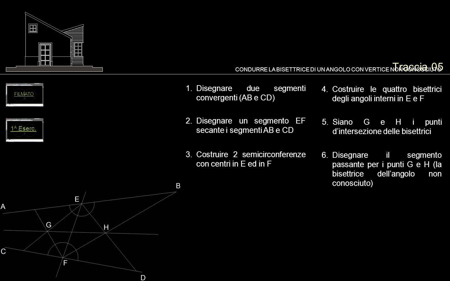 Traccia 05 1.Disegnare due segmenti convergenti (AB e CD) CONDURRE LA BISETTRICE DI UN ANGOLO CON VERTICE NON CONOSCIUTO 2.Disegnare un segmento EF se