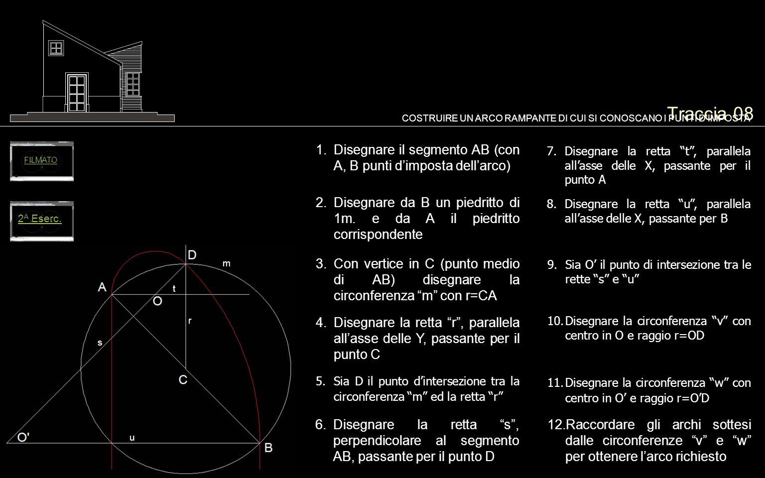 Traccia 08 1.Disegnare il segmento AB (con A, B punti dimposta dellarco) COSTRUIRE UN ARCO RAMPANTE DI CUI SI CONOSCANO I PUNTI DIMPOSTA 2.Disegnare d