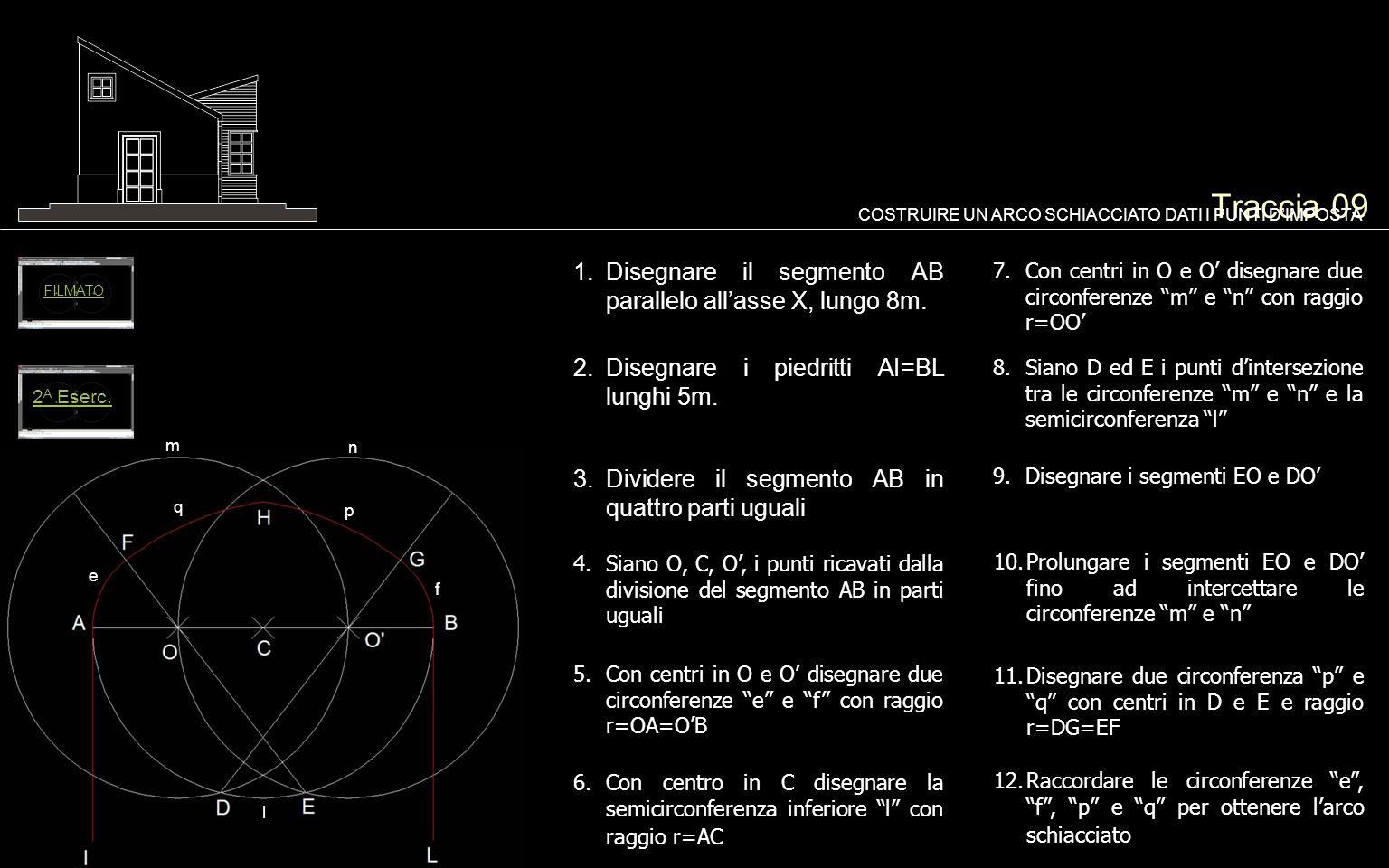 Traccia 09 1.Disegnare il segmento AB parallelo allasse X, lungo 8m. COSTRUIRE UN ARCO SCHIACCIATO DATI I PUNTI DIMPOSTA 2.Disegnare i piedritti AI=BL