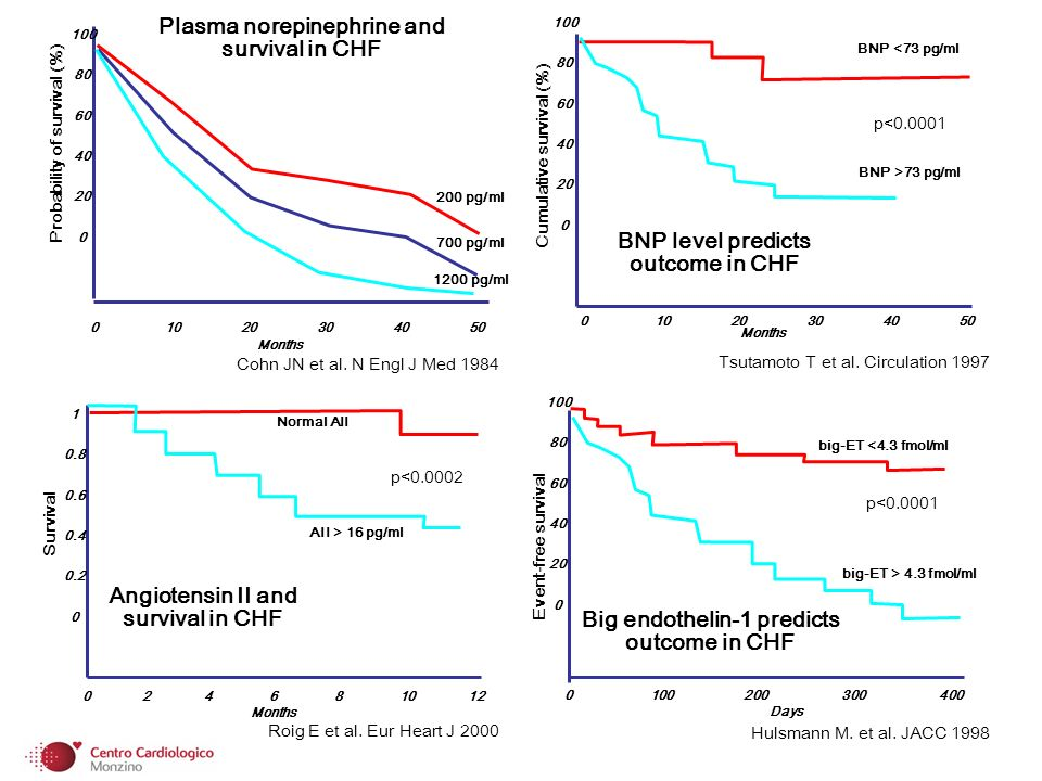 Months Plasma norepinephrine and survival in CHF Cohn JN et al.