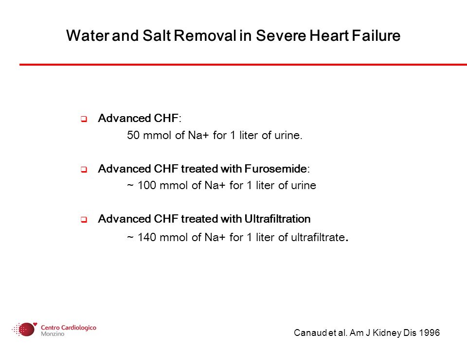 Water and Salt Removal in Severe Heart Failure Advanced CHF: 50 mmol of Na+ for 1 liter of urine. Advanced CHF treated with Furosemide: ~ 100 mmol of