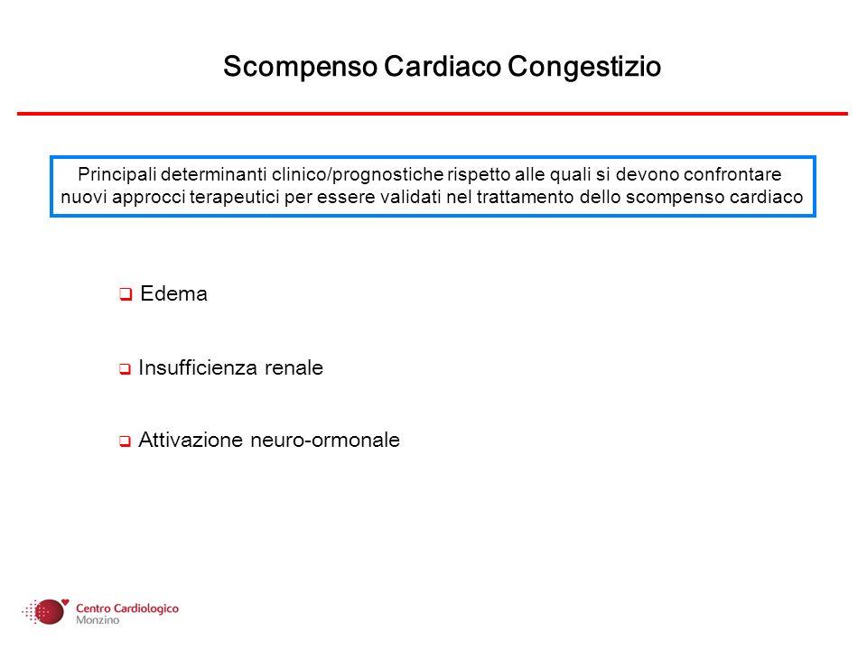 Lo scompenso cardiaco congestizio è caratterizzato dalla presenza di ritenzione idrica, insufficienza renale e marcata attivazione neurormonale.