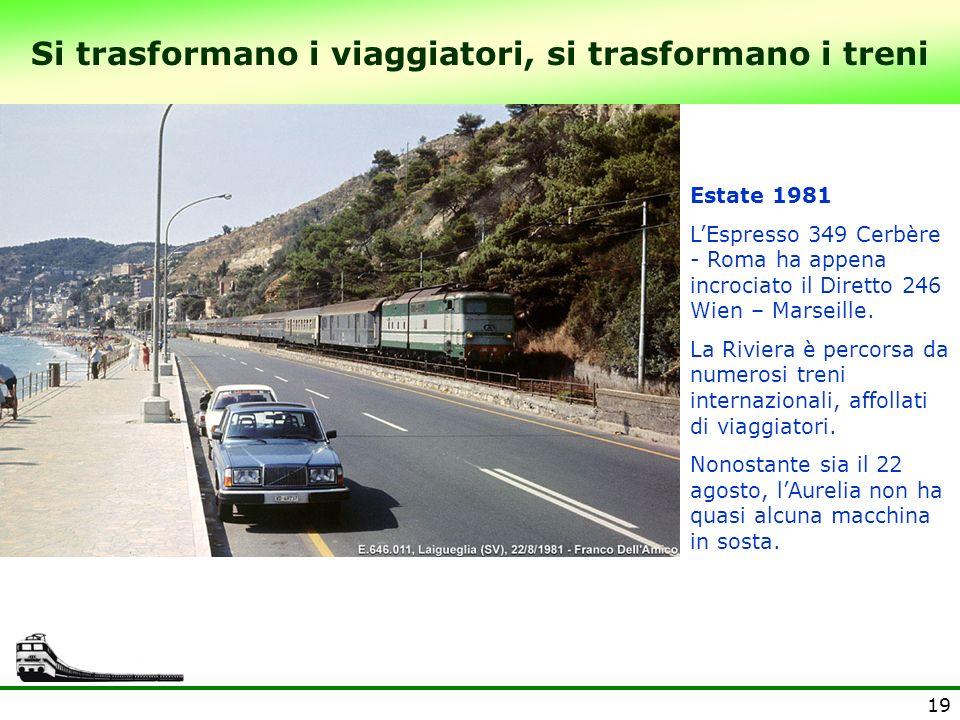 19 Si trasformano i viaggiatori, si trasformano i treni Estate 1981 LEspresso 349 Cerbère - Roma ha appena incrociato il Diretto 246 Wien – Marseille.
