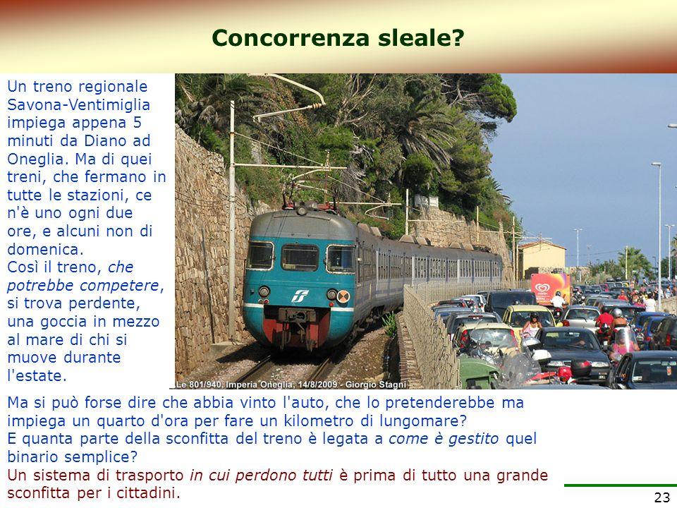 23 Un treno regionale Savona-Ventimiglia impiega appena 5 minuti da Diano ad Oneglia. Ma di quei treni, che fermano in tutte le stazioni, ce n'è uno o