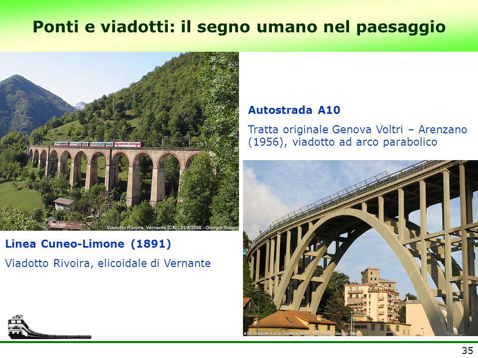 35 Ponti e viadotti: il segno umano nel paesaggio Autostrada A10 Tratta originale Genova Voltri – Arenzano (1956), viadotto ad arco parabolico Linea C